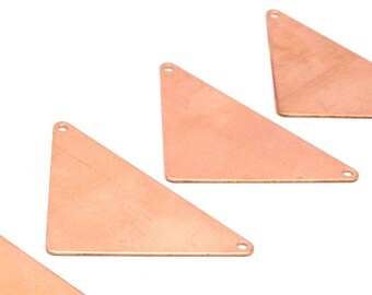 Copper Triangle Blank, 6 Raw Copper Triangle Blanks With 2 Holes (56x41x41x0.60mm) D475