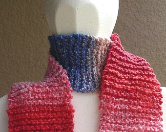 Scarf Pink Blue Brown Multicolored Noro silk cotton wool hand knit. Soft cuddly scarf