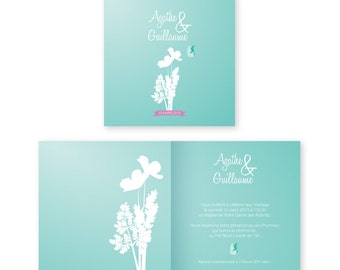 Wedding announcement - Invitation - Inspiration herbarium - Nature - Butterfly - PDF printable by yourself
