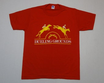 Dueling Grounds T-Shirt Vintage 1980s 90s M Red