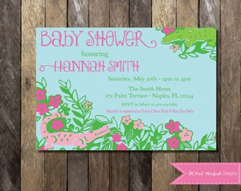 Preppy floral baby shower invitation pink and blue baby lilly pulitzer baby shower invitation lilly pulitzer invitation preppy invitation preppy baby shower filmwisefo