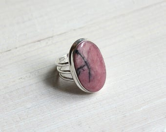 Large Rhodonite & 925 Sterling Silver Ring • S. US 7.75 / FR 57 • Boho Jewelry • Boho Chic • Statement Ring