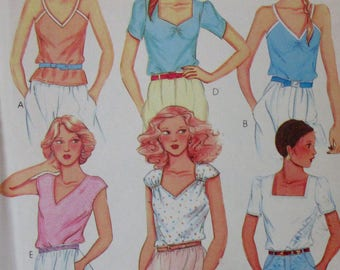 Vintage 1980 McCall's 7077 Pullover Top Sweetheart or Square Neck Sleeveless Cap or Short Sleeve Stretch Knits Only  UNCUT Size Small 10-12