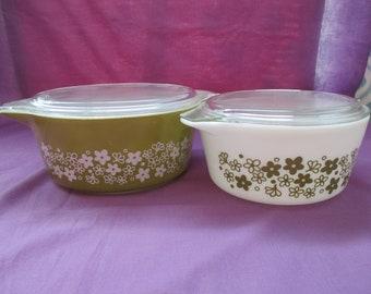 Vintage, Pyrex, Spring Blossom Green, 4 Piece Casserole Set, #475, #474 with Lids, Avocado Green, (Crazy Daisy). 1972 to 1979
