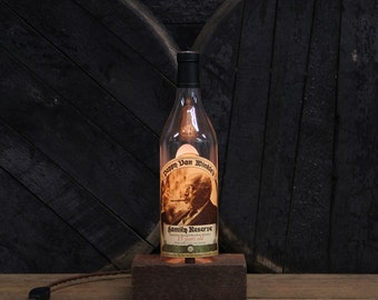 Handmade Recycled Pappy Van Winkle 15 Year Bourbon Bottle Lamp - Reclaimed Wood Base, Edison Bulb, Twisted Cloth Wire, In line Switch, Plug