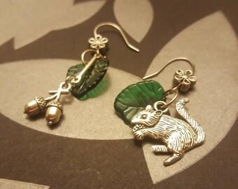 Chipmunk and Acorn Earrings Fall Nature Earrings Alvin and the chipmunks Earrings Cute Gift Earrings
