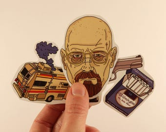 breaking bad stickers laptop labels tags - heisenber RV illustration