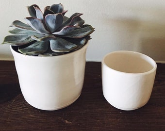 Handmade Ceramic Planters - Wheel Thrown Pottery - Minimal White