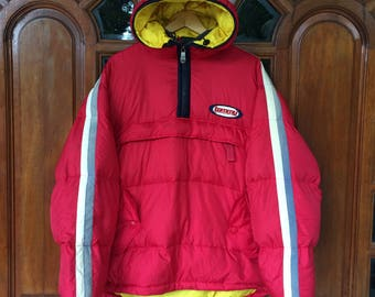 Rare!! Vintage TOMMY HILFIGER  boardsports pullover hoodie puffer jacket/red/yellow/white/blue/large size