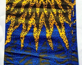Blue & Yellow African Fabric; Ankara Fabric; African Clothing; African Fabric in yard; African Headwrap;Ankara Fabric in yards;Ready to Ship