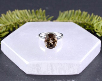 Classic Faceted Smoky Quartz Ring // Smoky Quartz Jewelry // Sterling Silver // Village Silversmith