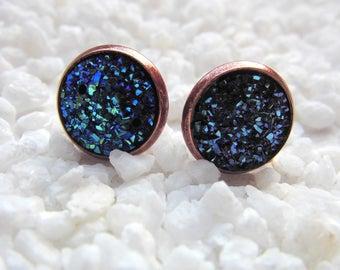 Earrings Druzy Studs Copper
