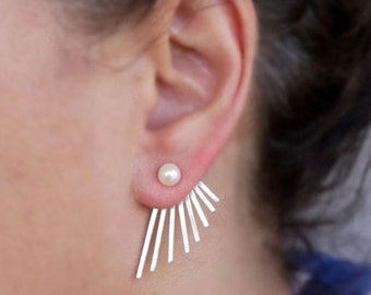 Silver ear jackets, silver earrings jackets, gold ear jackets, pearl earrings jackets, gold ear cuff jackets, stud earrings, gold earrings
