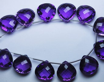 2 Match Pair --AAA--PURPLE AMETHYST Quartz Faceted Heart Briolettes 12mm Size Calibrated Size