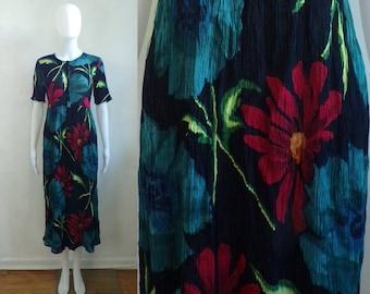 floral midi dress lightweight rayon 80s flower print short sleeve boho dress size small
