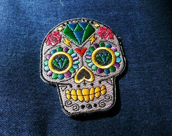 Free US Shipping Iron on PATCH / Sugar Skull / Tattoo/ Day of the Dead / Flowers / roses / Diamonds / Patch / Jacket / Bags / heart/ Crafts