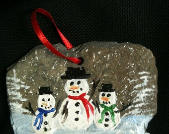 Slate Ornament  with Handpainted  Snowman