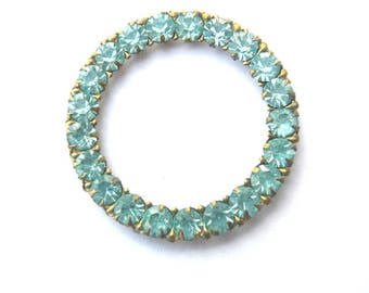 Antique vintage Swarovski crystals mounted in circle ring brass setting cut 1100, light blue