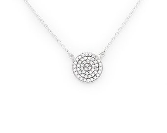 Medallion Necklace, Round Disk Necklace, Sterling Silver Medallion Necklace