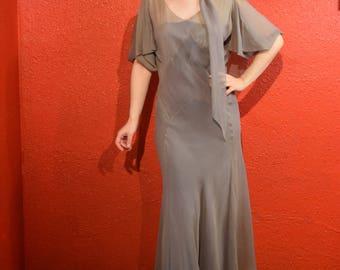 HALF PRICE 1930s Grey Chiffon Bias Cut Dress with Scarf and Belt