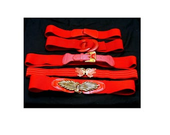 Vintage red belt collection-80's stretch butterfly ornate lot