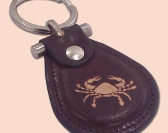 Zodiac cancer leather metal T keychain
