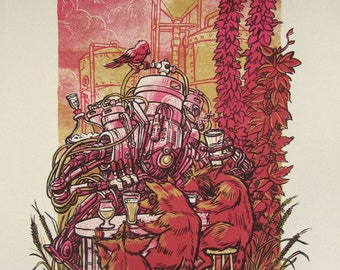 Keg-O-Rator — Screen printed beer robot poster