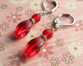 Red Earrings Silver earrings goddess Earrings valentines day gift for her red drop earrings red dangle earrings