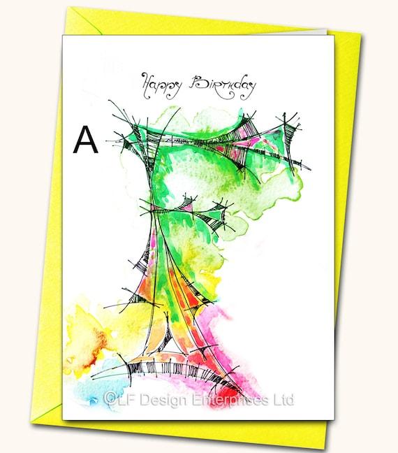 letters b fkly happy birthday monogram watercolour