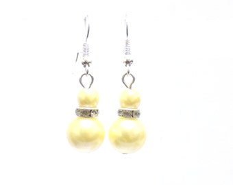 yellow pearl earrings, pearl earrings, yellow earrings, dangle earrings, earrings, bridesmaid earrings, drop earrings