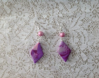 Shade of violet purple diamond earrings