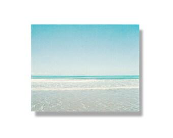 Beach photo canvas, beach decor, white, aqua, turquoise, Pacific Ocean, summer, white waves, beach decor, beach canvas art - Wistful