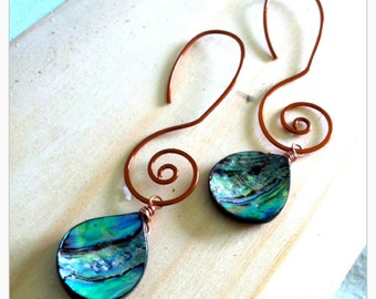Kainani,  Swirly-Whirly Copper Ear Wire with abalone charm