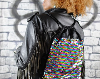 RAINBOW holographic sequin backpack, Black eco-leather.
