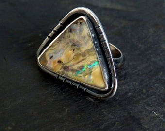 Australian boulder opal ring / opal ring / October birthstone / boulder opal jewelry / rainbow opal / natural opal / ready to ship