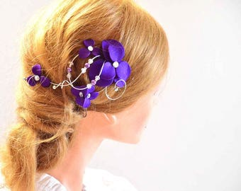 Purple hair piece, Purple fascinator, Bridesmaids purple head piece, Wedding hair clip, Wedding hair accessories, Bridesmaids hair flower