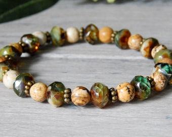 Earthy Jewelry, Gemstone Bracelet, Nature Jewelry, Nature Bracelet, Boho Style, Nature Gift, Jasper Bracelet, Green Jewelry, Hippie Bracelet