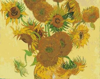 Vincent Van Gogh 'Sunflowers'- Counted Cross Stitch Kit - DMC materials