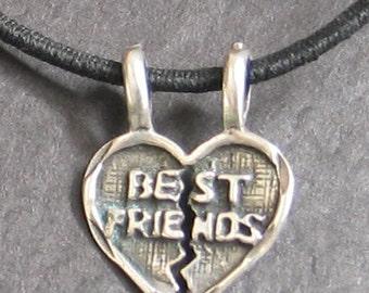 SALE Vintage Sterling Best Friends  Breakable Heart Charm