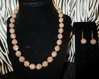 Brown & White beaded Necklace/Earrings Set