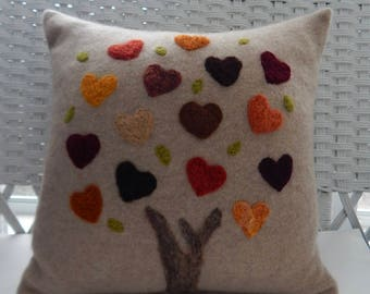 Recycled Cashmere Tree of Love Decorative Needle Felted Pillow in Brown and Fall Colors