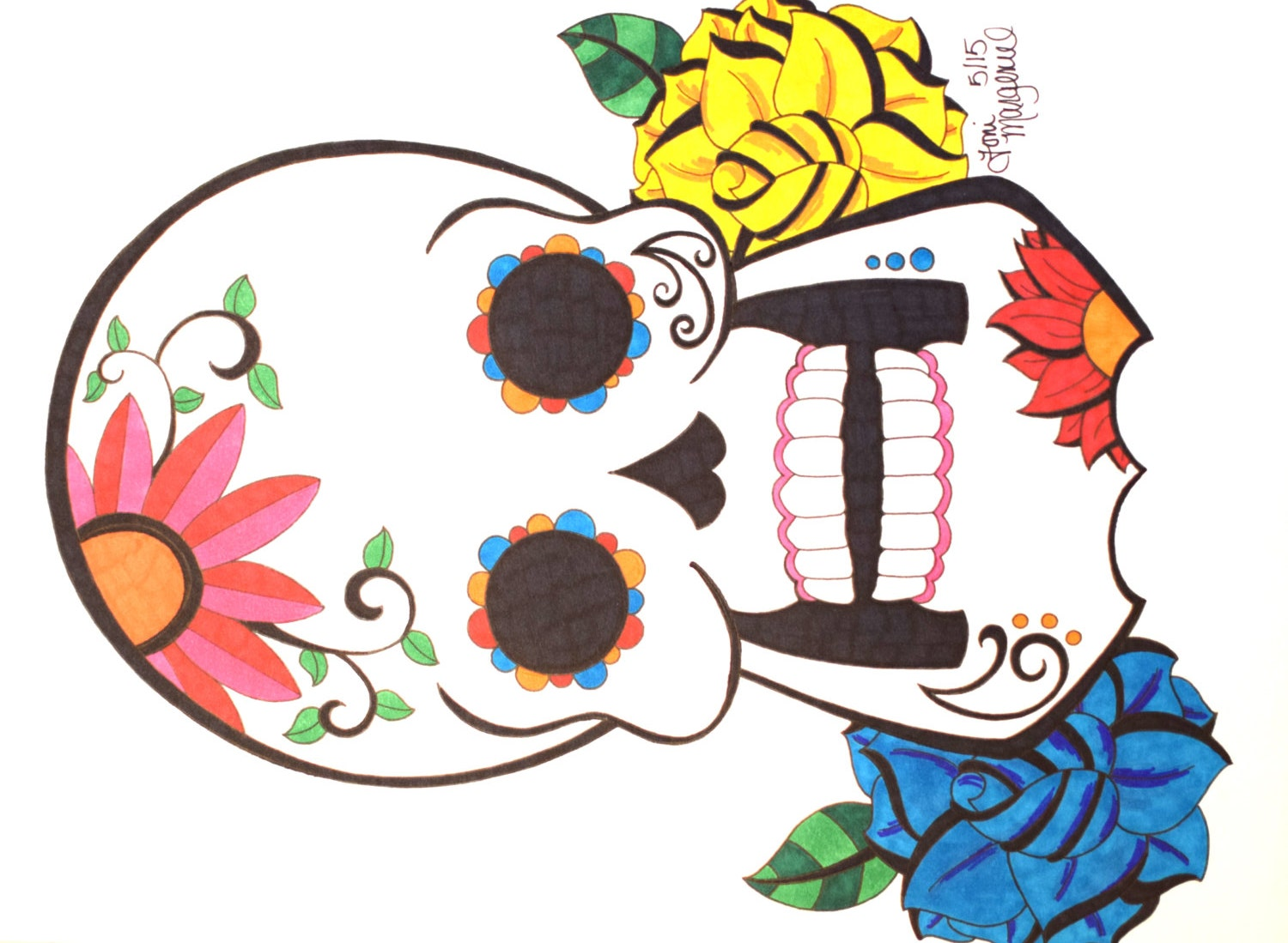 Sugar Skull Drawing Day of the Dead Artwork 9x12 inch Skull
