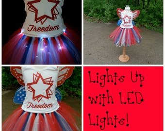 Girl's Light Up 4th of July Tutu; Girls 4th of July Outfit Set; custom independence day dress; Red, white and Blue tutu set
