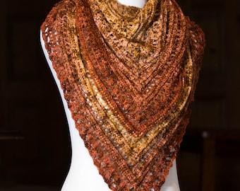 Women's Crocheted Triangle Scarf | Lightweight Fall Shawl | Fall Crochet Wrap