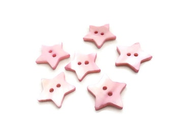 Mother of Pearl Shell Buttons 20mm - set of 6 pink star buttons