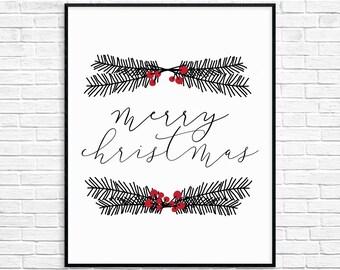 Merry Christmas Printable Wall Art, Christmas Decor, Christmas Wall Art, Instant Download, Christmas Print, digital item