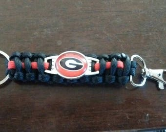 Georgia Bulldogs Paracord keychain. Free Shipping!!