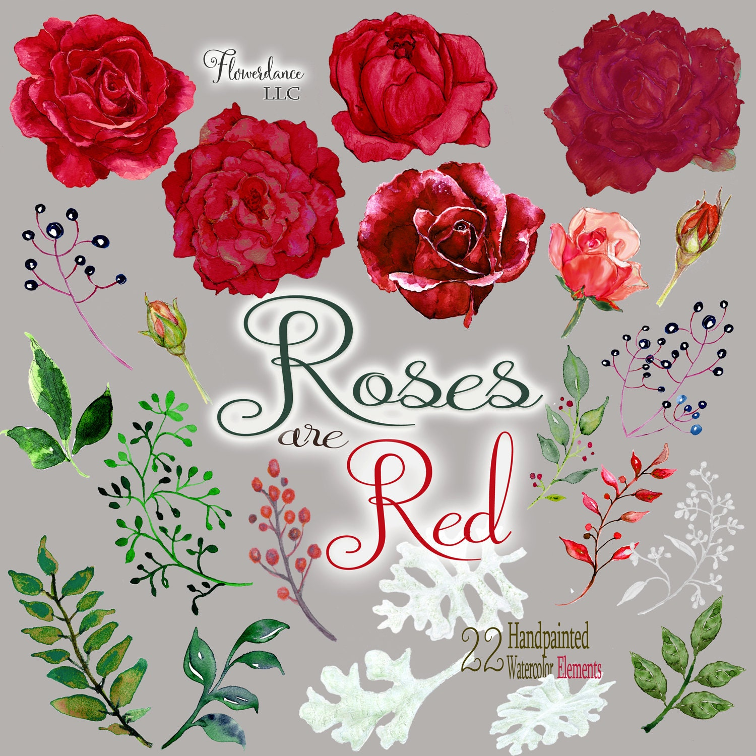 Red roses clipart floral clip art watercolor English rose ...