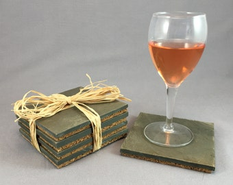 Upcycled Roofing Slate Coasters (Set of 4)