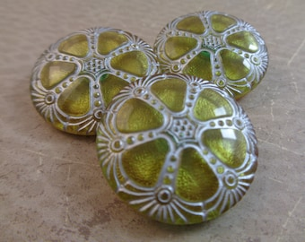 1 Green Gold Czech Glass Button 27mm Round Flat Button Wheel Shaped Iridescent Glass Button Light Olive Green Silver Wheel Button #T1109